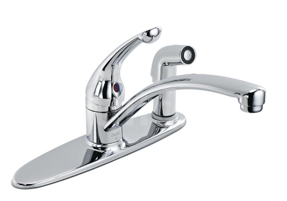 336 Dst Delta Classic Single Handle Kitchen Faucet With Spray Chrome Build Ca